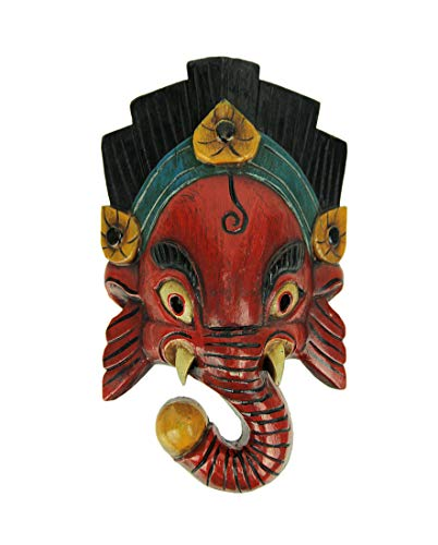 Everest Wings Hand Carved Wooden Ganesha Wall Mask W/Black/Blue Headdress