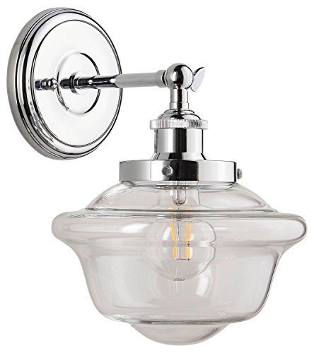Lavagna 1 Light LED Bathroom Vanity Chrome with Clear Glass Linea di Liara LL-WL271-CLEAR-PC