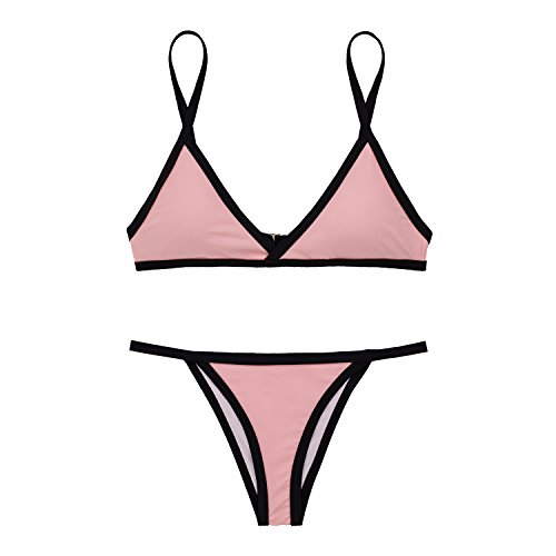X-HERR Mujer Color de Contraste Triángulo Bra Fondo Brasileño Trajes de baño Bikini Rosado