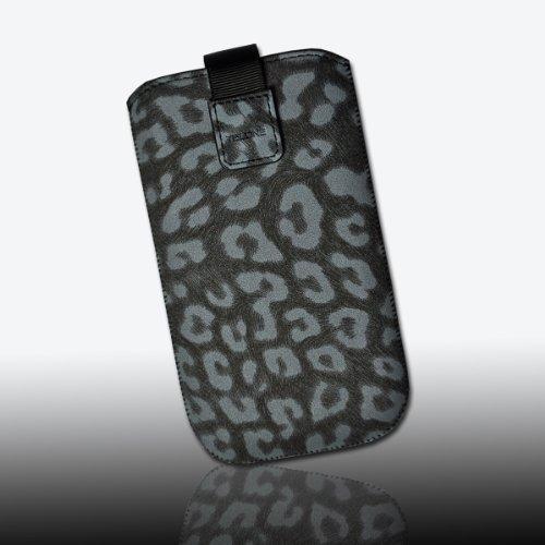 Handy Tasche Wild Kunstleder schwarz/grau Leo2-2 für Apple iPhone 5 / iPhone 4 / 4S