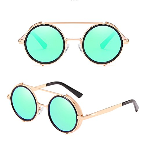 Zhhlaixing de Soleil Lunettes Lunettes Métal Retro Soleil Hommes Rond Femmes Sunglasses pour de Cadre Green Lunettes qw1Oqr4