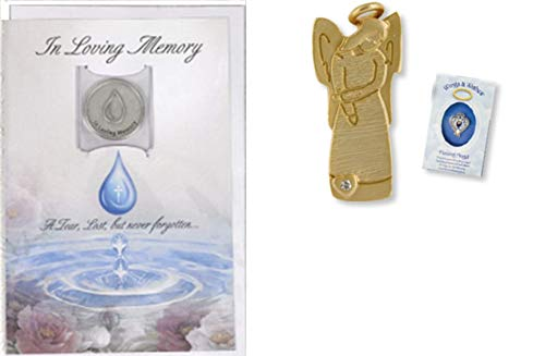 In Loving Memory Sympathy Card with Token and Remembrance Angel Pin ()