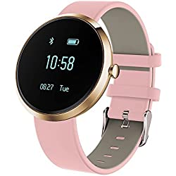 Fitness Tracker, Heart Rate Monitor Blood Pressure Calorie Steps Counter Activity Sleeping Tracker Smart Watch for IOS & Android Smartphone Pink