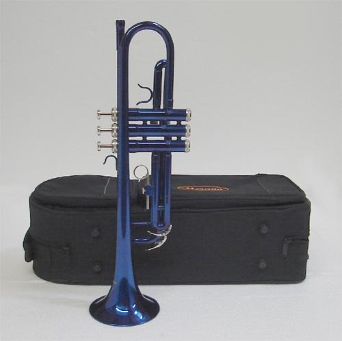 Merano B Flat Blue / Silver Trumpet with Case+Mouth Piece+Valve Oil+Metro Tuner+Black Music Stand by Merano