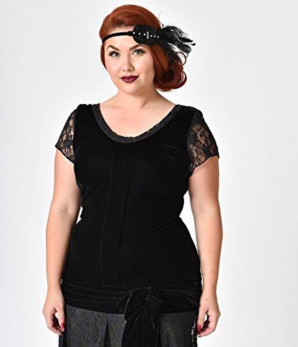 Unique Vintage Plus Size 1920s Style Black Velvet Short Sleeve