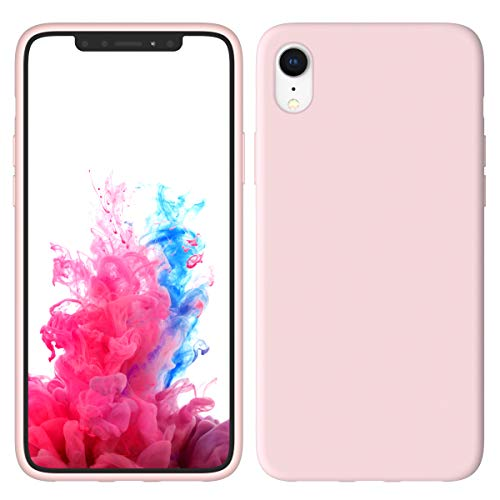 Aucaeo iPhone XR Case with Screen Protector Tempered Glass, 360 Shockproof Protective Liquid Silicone Military Grade Cases Ultra Thin Slim Cover for Apple iPhone XR 6.1 inch 2018, Sand Pink (Sand Glass Case)