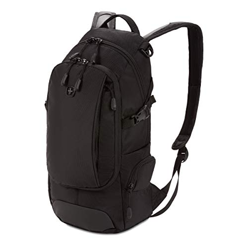 SwissGear Small/Compact Organizer Backpack - Narrow Profile Daypack (Black)