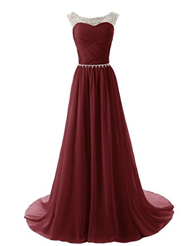 Cap Dresses Bridal Chiffon Bridesmaid Burgundy Gowns Crystal Women's Prom Sleeve Annie's Long FqwxgpF