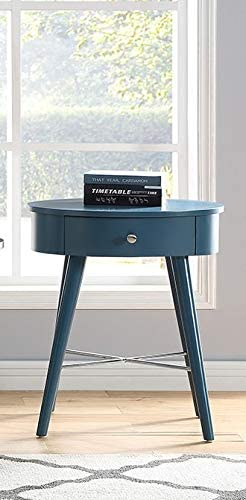 GTU Furniture Oval Shape 1 Drawer Wood Accent Storage Nightstand/Side Table/End Table Blue