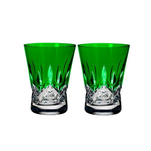Waterford Lismore Pops Set of 2 Double Old Fashioned Glasses Emerald