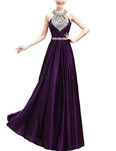 mit Bright Great Abendkleid Halfter CL0011A Taillenband Damen Kleid Verein Violett verziert Strasssteinen 0qdprdXw