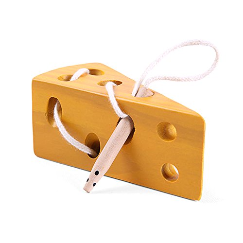 LIKIQ Montessori Toys for Toddlers Wooden Cheese Toys for Kids Travel Airplane Game, Early Learning Educational of Lacing Skills and Reverse Thinking of Children