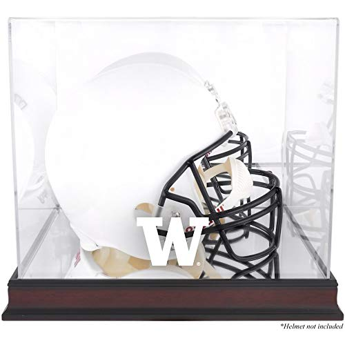 Washington Huskies Mahogany Full Size Helmet Logo Display Case with Mirror Back Stock #145057