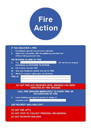 Fire Action If You Discover A Fire Procedure Sign Stickers Lable Decal Warning Sign Vinyl Self Adhesive 210X297Mm (Fire Procedure Sign)