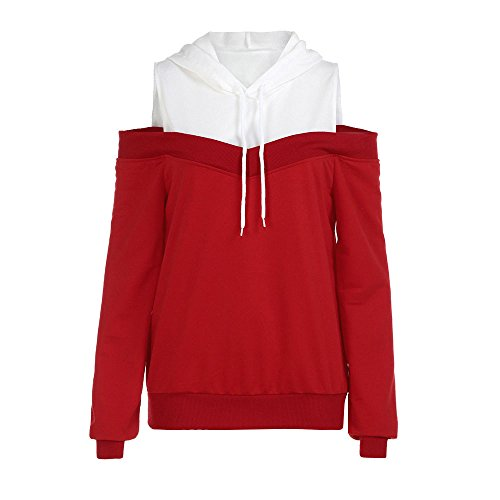 Pullover,Toimoth Womens Off Shoulder Long Sleeve Hoodie Sweatshirt Hooded Pullover Tops Blouse(Red,M)