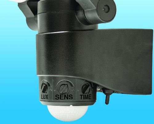 43218 black battery powered dual head led security light new ebay. Black Bedroom Furniture Sets. Home Design Ideas