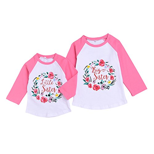 Newborn Baby Girls Clothes Little Big Sister Shirt Tops Letter Flower Print Long Sleeve Outfits (Big Sister, 4-5T)