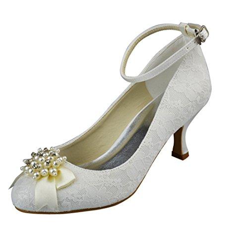 Tallone Da Donna Da 2,5 Pollici In Pizzo Sera Festa Nuziale Perline Scarpe Con Cinturino Strappy Scarpe Bianche-7cm Tacco