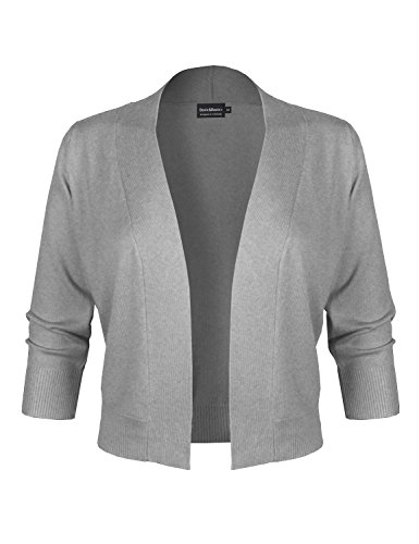 BBP Classic 3/4 Sleeve Open Front Cropped Bolero Cardigan Heather Gray2 (Beaded Crop Jacket)