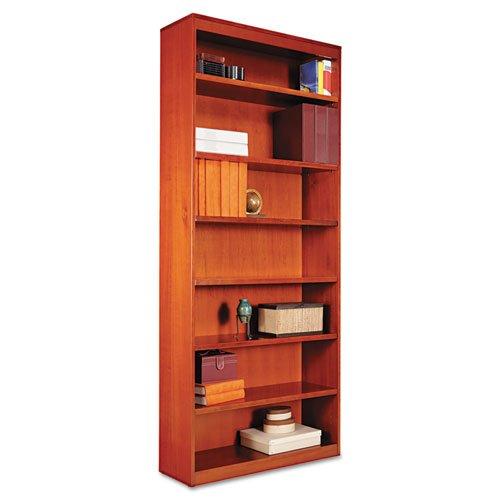 Miller Supply Inc Alera Square Corner Bookcase, Wood Veneer, 7-Shelf, 36w x 11-3/4d x 84h, Medium Cherry - BMC-ALE BCS78436MC