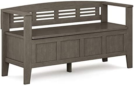 Simpli Home Adams SOLID WOOD 48 inch Wide Entryway Storage Bench with Safety Hinge, Multifunctional, Rustic, in Farmhouse Grey