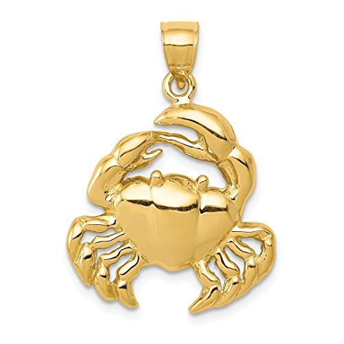 14k Yellow Gold Crab Pendant Charm Necklace Sea Life Lobster Fine Jewelry For Women Gift ()