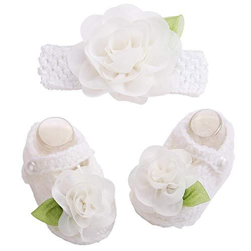 Amazon.com : Fumak: 2016 Newborn Photo Props Zapatillas Bebe Girls Crochet Baby Shoes Flower Headband Set, Baby Shoes Girls Winter, Toddler Girl Shoes : ...