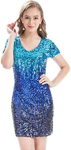 7287a08afe8 MANER Women s Sequin Glitter Short Sleeve Dress Sexy V Neck Mini Party Club  Bodycon Gowns