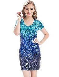 Short Sleeve Sequin Dress With V-Neck