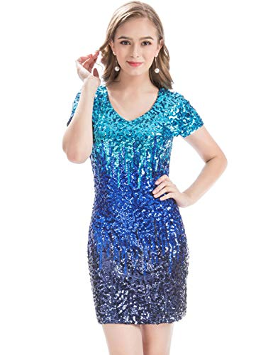 (MANER Women's Sequin Glitter Short Sleeve Dress Sexy V Neck Mini Party Club Bodycon Gowns(XL,Blue))