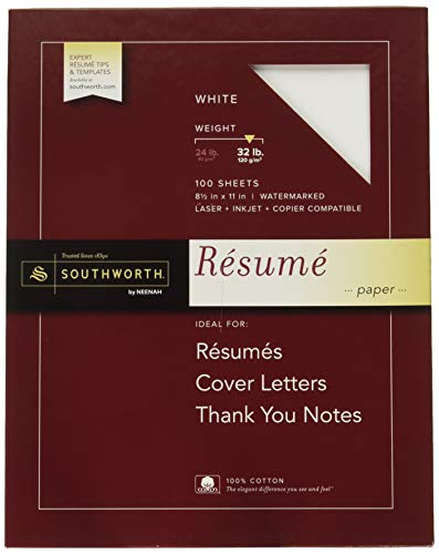 - Southworth Exceptional Resume Paper, 100% Cotton, 32 lb, White, 100 Count (RD18ICF)