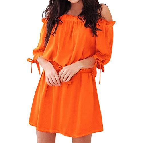 Women's Summer Mini Dress,Casual Short Dress,Loose Short Sleeve Bow Bandge Ruffle Off Shoulder A-Line Dresses Party Dress (Orange, -