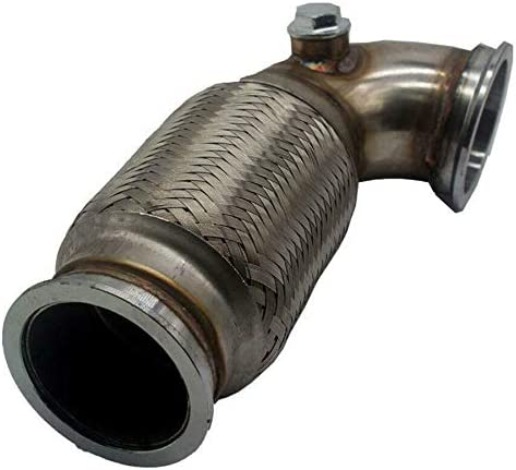 3 Inch V-Band Down pipe Low Profile 90 Degree with Flex Bellow Pipe Stainless Steel All TIG Welded Construction with Stainless V-band Flange on Both Ends and Dual Stainless O2 Bungs