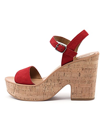 DOLCE VITA Randi Tan Womens Shoes High Heels Sandals Red Suede