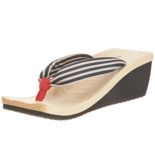 MIZUTORI Modern Style Geta Sandal SHIKIBU with Red & Navy Stripes (8)
