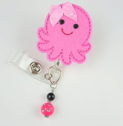 Cute Pink Octopus- Nurse Badge Reel - Retractable ID Badge Holder - Nurse Badge - Badge Clip - Badge Reels - Pediatric - RN - Name Badge Holder