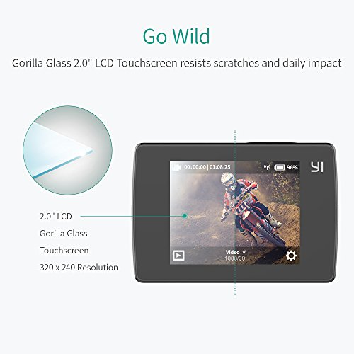 YI Lite Action Camera, 16MP Real 4K Sports Camera with Built-in WIFI, 2 Inch LCD Screen, 150° Wide Angle Lens-Black