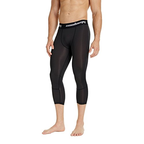 COOLOMG Compression Running 3/4 Tights Capri Pants Leggings Quick Dry For Men Youth Boy Black XXS (Youth Medium) (Compression Pants For Kids)
