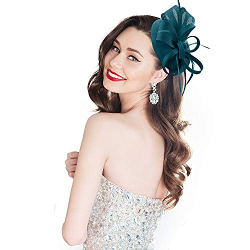 homy Fascinator Hats Feather Fascinators for Women Pillbox Hat Headband for Wedding Derby Tea Party Race, A - Peacock Blue, Small ()