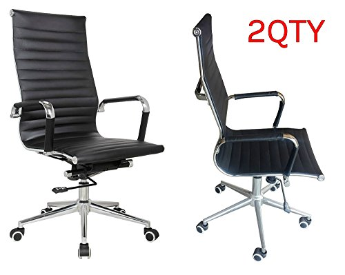 eames replica high back office chair black pleather stabilizing