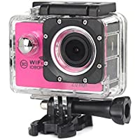 ESCENERY New Full HD 1080P WIFI H16 Action Sports Camera Camcorder Waterproof 32G Memory Card+1200 Million High-Definition Wide-Angle Lens (Hot Pink)