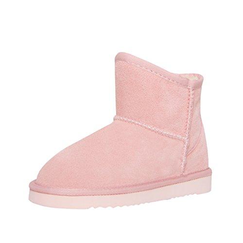 SKUTARI Kinder Leder Boots Button - Mini Winterstiefel, Gefüttert, Diamant Pink/5042
