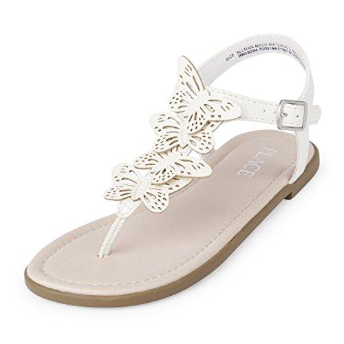 The Children's Place Girls' BG Butterfly ZAH Flat Sandal, White, Youth 4 Medium US Big Kid