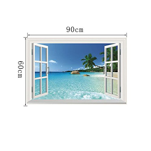 WS-001 large removable wall stickers Sea 3D windows vista home D. Ecals murals free (Happy Halloween Japanese Dance)