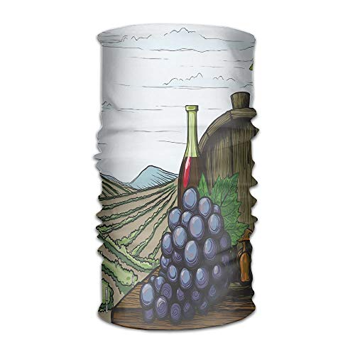 TRUSTINEE Womens Men's Turban Landscape with Views of Vineyards Grapes Leaves Drink Barrel Agriculture Field Farm Campus Scarf