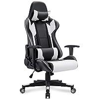 Silla de juego Homall, estilo de carrera, respaldo alto, silla de cuero de PU, silla giratoria ejecutiva de estilo ergonómico, con reposacabezas y soporte lumbar (blanco)