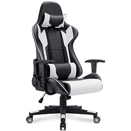 (Homall Gaming Chair Racing Office Chair High Back Computer Desk Chair PU Leather Chair Executive and Ergonomic Adjustable Swivel Chair with Headrest and Lumbar Support (White))