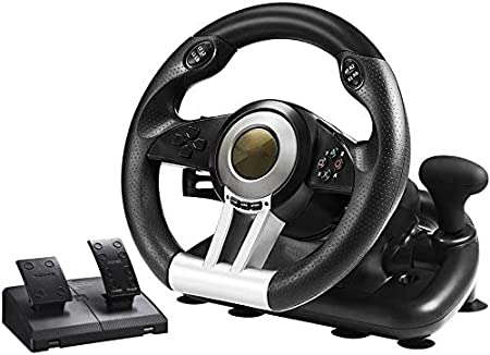 WUAZ Volante de Carreras PC, de 180 Grados USB Universal del Volante del Coche de Carreras de Sim con Pedales para PS3, PS4, Xbox One, Interruptor de Nintendo,Negro: Amazon.es: Hogar