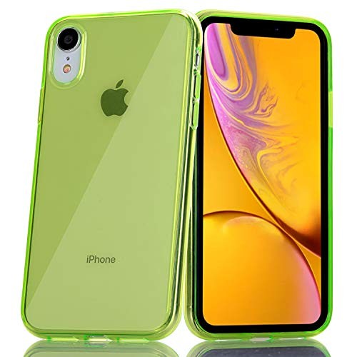 BAISRKE Green Clear Case for iPhone XR Slim TPU Bumper Glossy Flexible Soft Silicone Rubber Compatible with iPhone XR [6.1 inch]