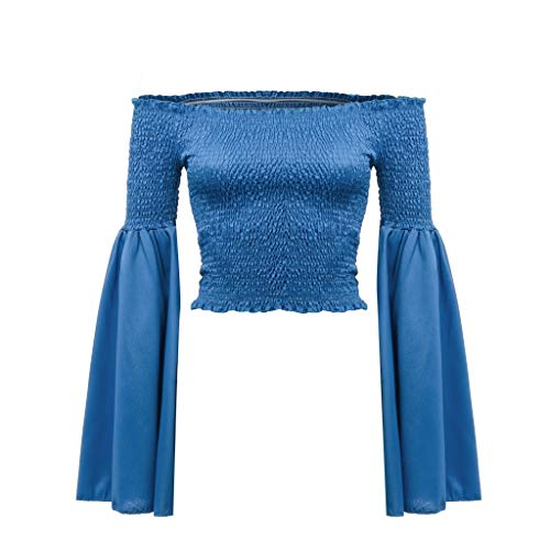 - HIRIRI Women's Flare Sleeve Bell Sleeve Blouse Long Sleeve Solid Color Sexy Ladies Tops Off Shoulder Shirt Blue